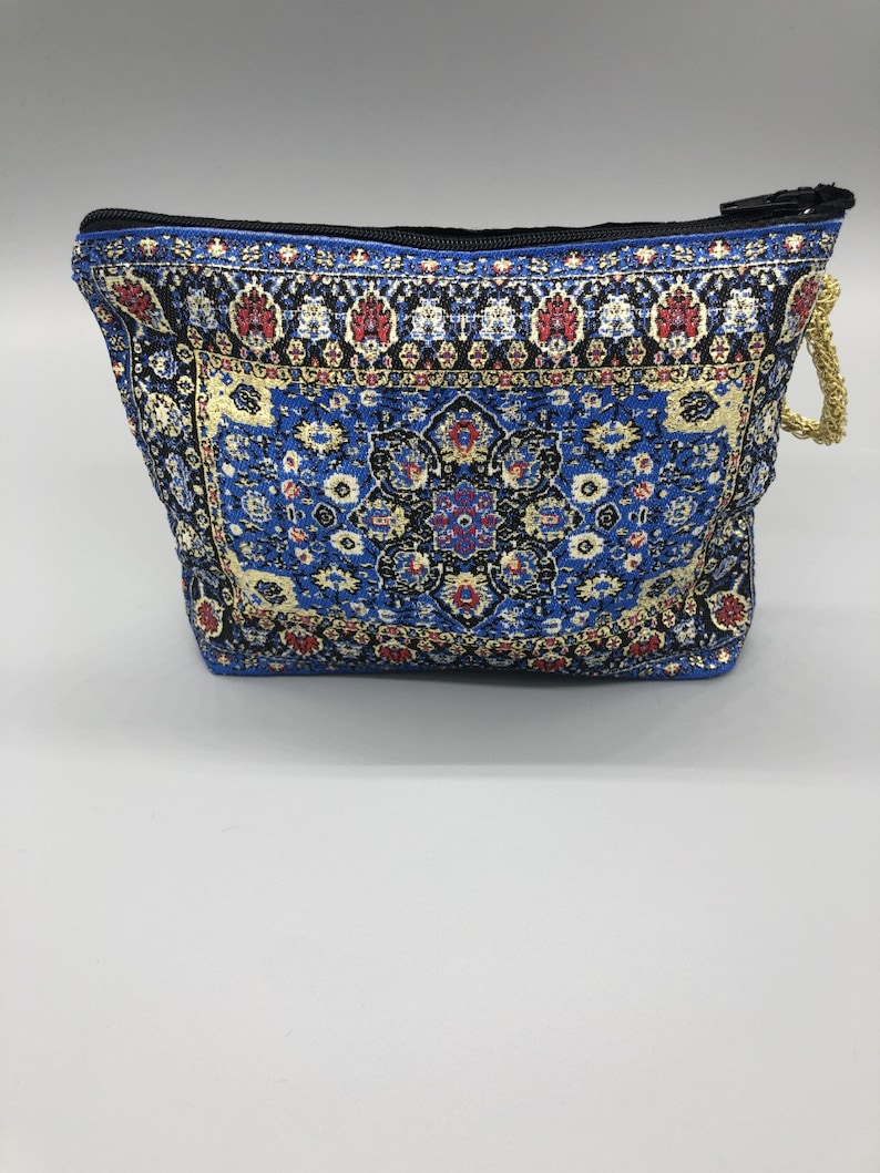 Turkish coin purse,small Zippered Pouch with Intricate Design Kilim boho bag,
