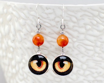 Cat eyes in the jungle earrings - silver plated, glass cabochon and orange-yellow bead