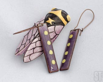 Enamelled earrings - Provencal style - lavender and yellow - enamel on copper