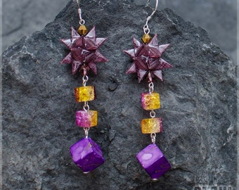 Circus festival earrings - purple star origami style - paper and resin with purple and yellow cube beads. Purple earrings. New year earrings