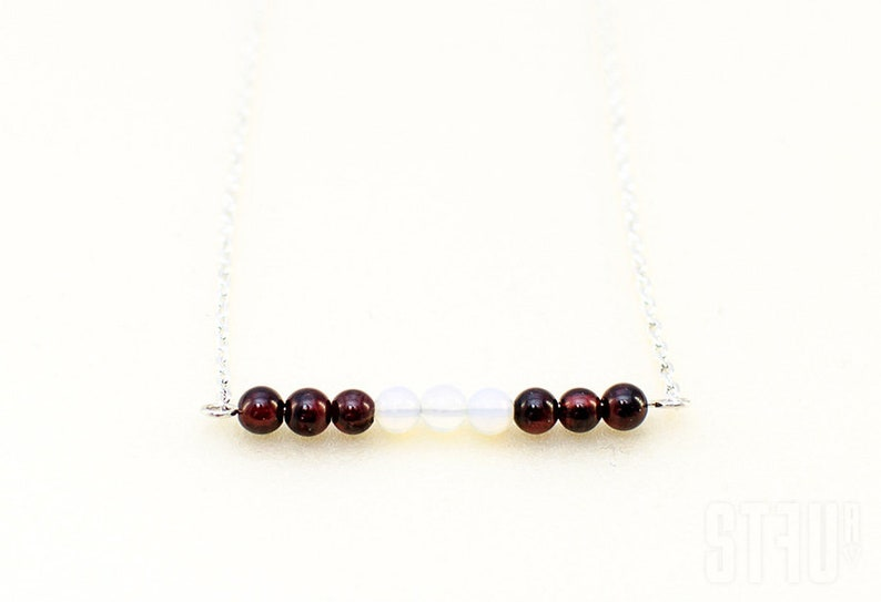 Delicate necklace. Silver chain garnets necklace Sterling silver Multicolor necklace Summer garnet pendant garnets and opals necklace