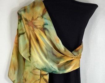 "Silk scarf Black /& copper brown 78/"" X 9/"" Hand made."