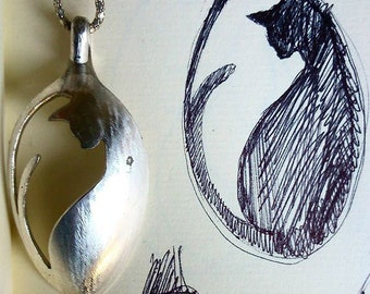 CAT NECKLACE, handmade jewelry, recycled spoon, cat lover pendant, pet bijoux, Cat passion necklace, Cat art, handcutted Cat, madeinitaly