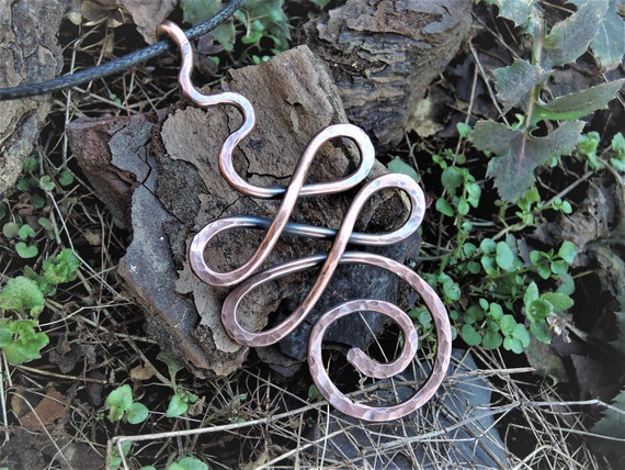 Unalome Copper Pendant Ancient Buddhism Symbols Hammered
