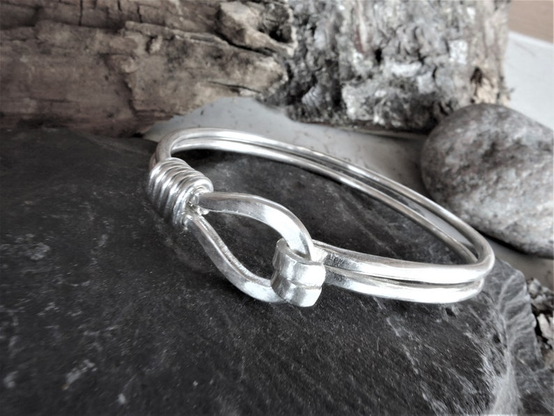Hammered sterling silver bangle Handmade silver 925 wire wrap jewelry Mens or Womens Loop and hook Minimalist Silver Bracelet