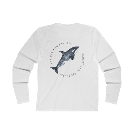 0a58020db6 Orcas Belong In The Sea Long Sleeve White   Etsy