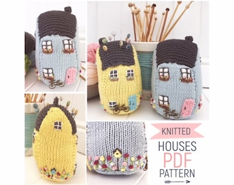 Hand-knitted felted wool pincushion in vintage Toby mug