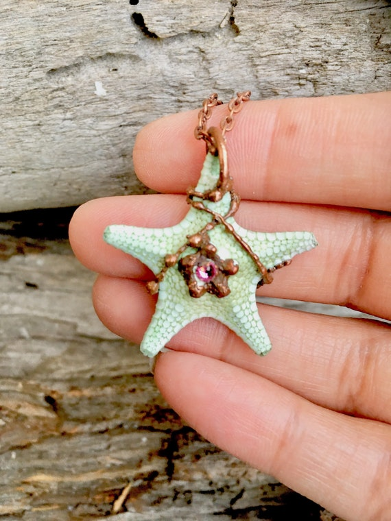 Starfish Pendant Sterling Silver Chunky Jewelry Necklace Mothers Day Gift Ideas for Mom Boho Choker Necklace Easter Gift Jewelry Women