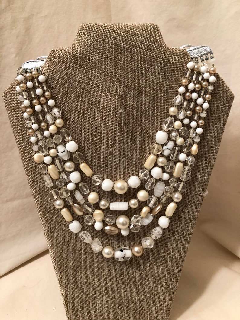 Beautiful Vintage White And Clear 5 Strand Art Glass Beaded Necklace