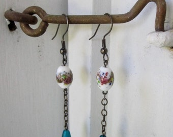 Vintage Handmade Lampwork Glass Earrings