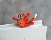 Needle felted lucky red cat bookmark Custom bookmark Bookworm gift for reader Book lover gift