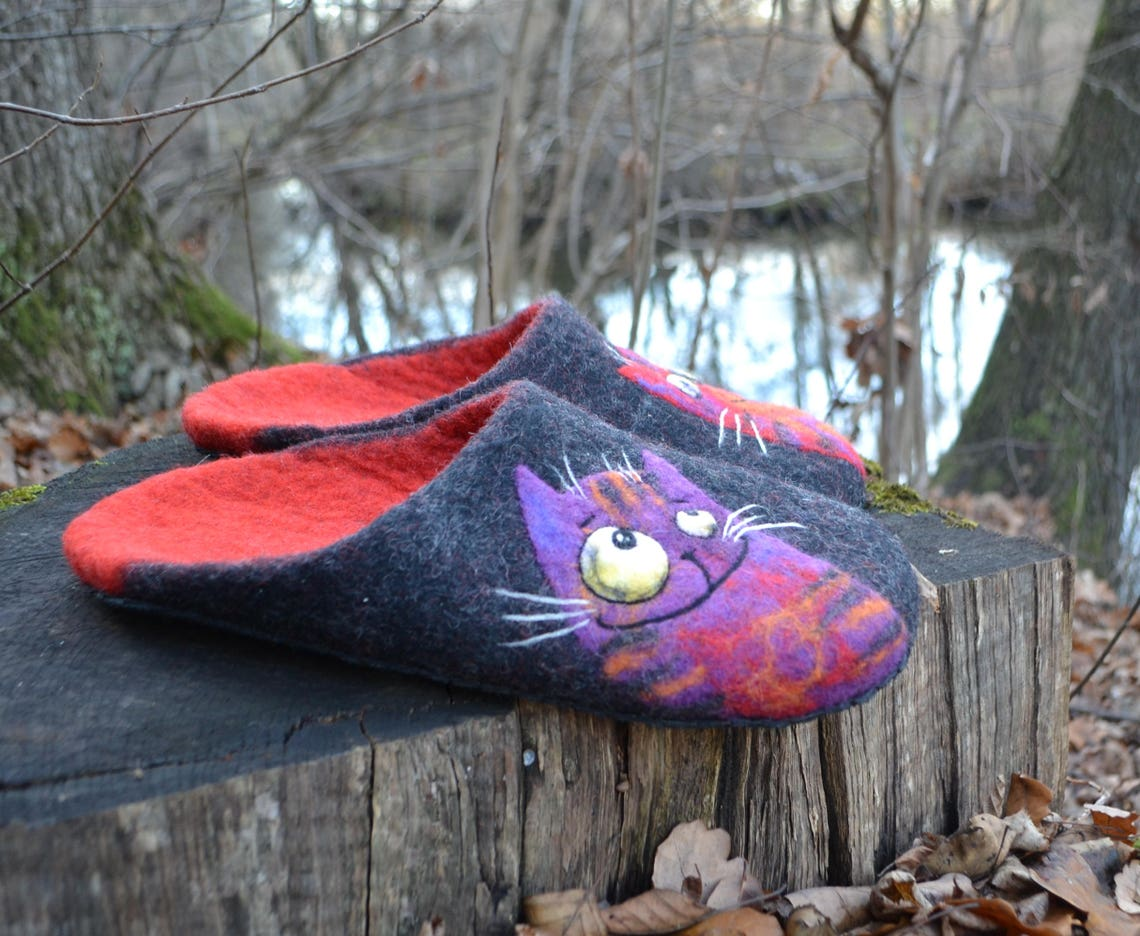 Felted Lucky Cats Slippers For Men Custom Wool Warm House - Big Sale k23dO
