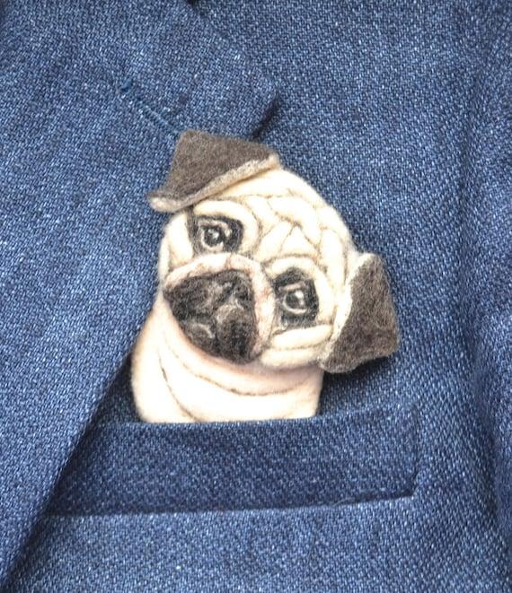 4148ddd152914 Personnalisé épingle de promotion portrait du chien carlin en