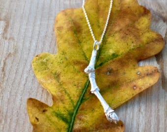 Oak Twig Pendant in Sterling Silver