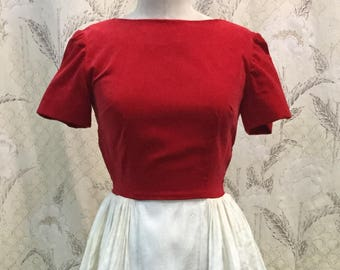Vintage 1950s Red and White Velvet Party Dress, Size Small, Size S
