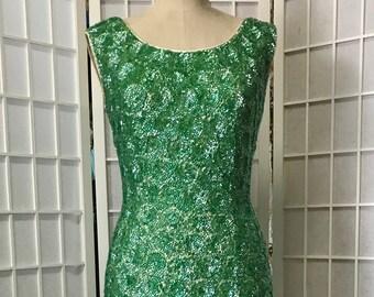 71c7faf60d 1960s Green Sequin Shift Dress