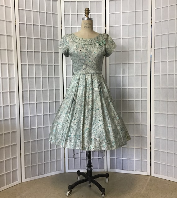 Beautiful 1950s teal and Black Abstract Floral Pri