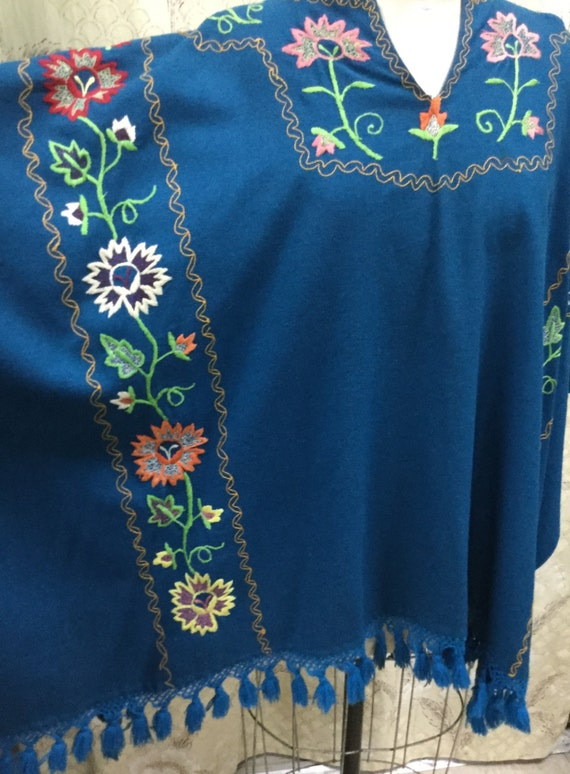 Vintage 1960s Royal Blue Embroidered Wool Shawl, … - image 2