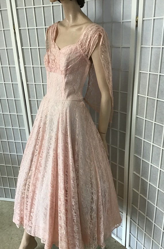 Beautiful 1950s Pink Lace Party Dress, Cocktail D… - image 3