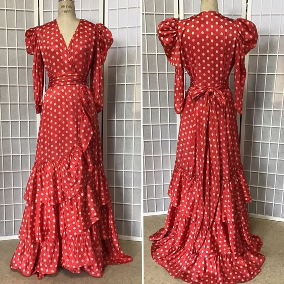 1930s Red, Ruffled Dressing Gown With White Polka
