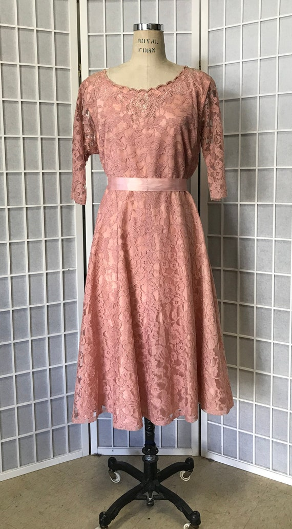 1940s Dusty Pink Lace Cocktail Dress, Size Large,