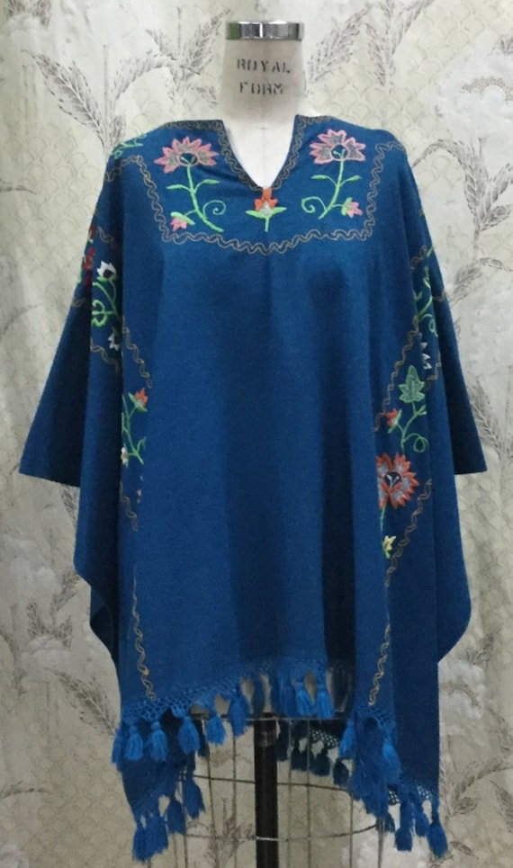 Vintage 1960s Royal Blue Embroidered Wool Shawl, E