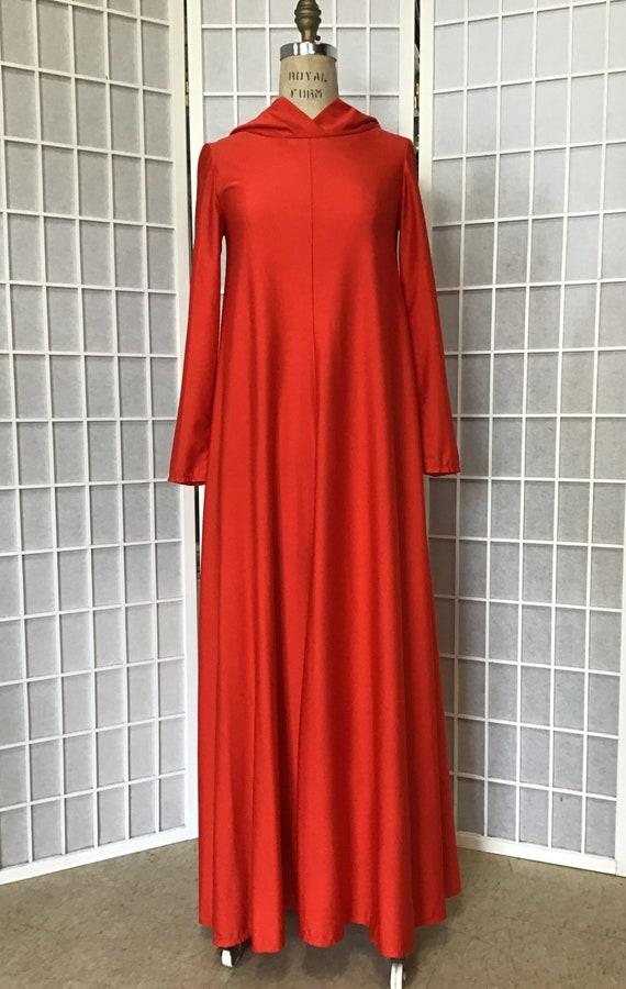 1970s Flaming Rust Hooded Maxi Dress