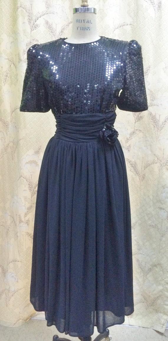 Vintage 1980s Black Sequin and Chiffon Dress, Blac