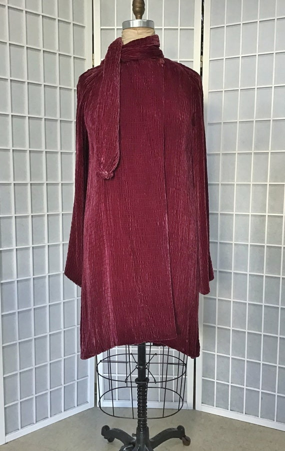 1930s Silk Velvet Coat With Attached Scarf, Paulin