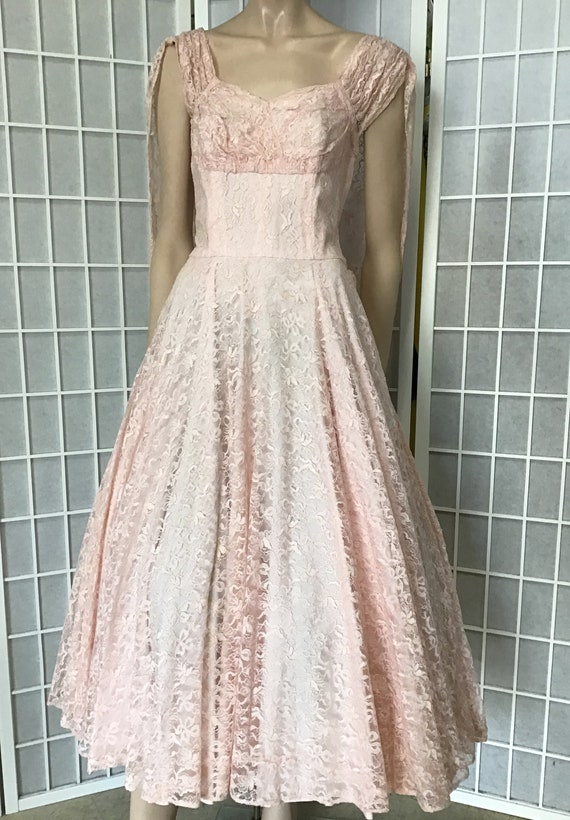 Beautiful 1950s Pink Lace Party Dress, Cocktail D… - image 2