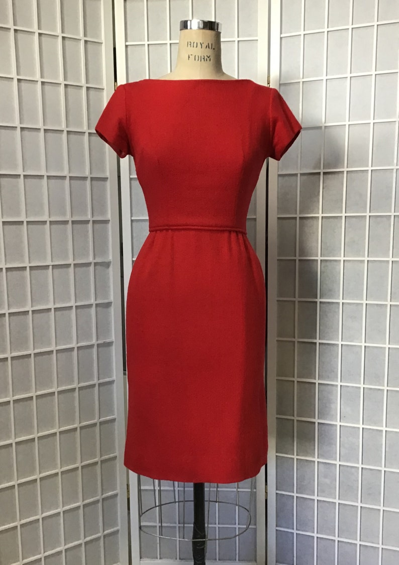1960s Red Wool Dress and Mink Trimmed Jacket
