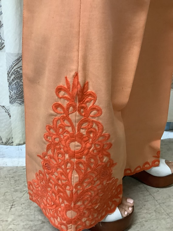 1970s Orange Embroidered Linen Suit - image 6