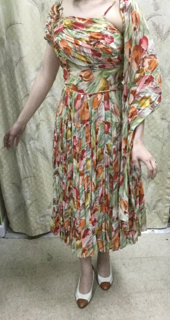 Vintage 1950s Floral Print Silk Sun Dress