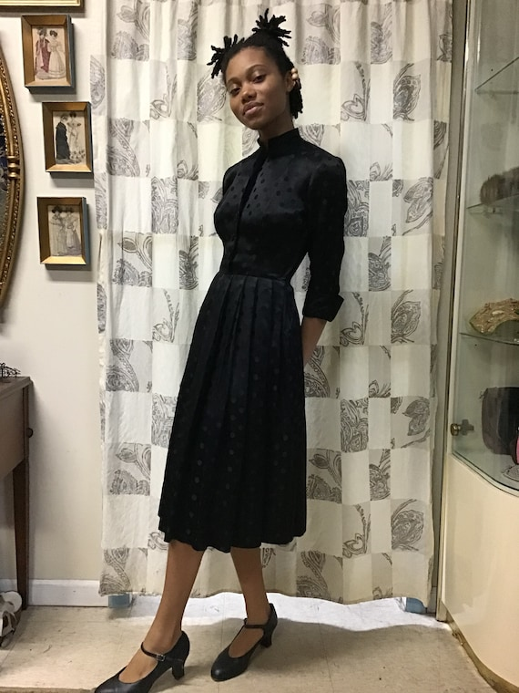 1940s Ceil Chapman Dotted Satin Dress