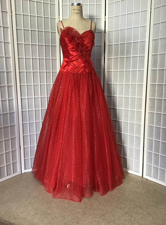 1950s Style Red Ball Gown, 1970s Ball Gown
