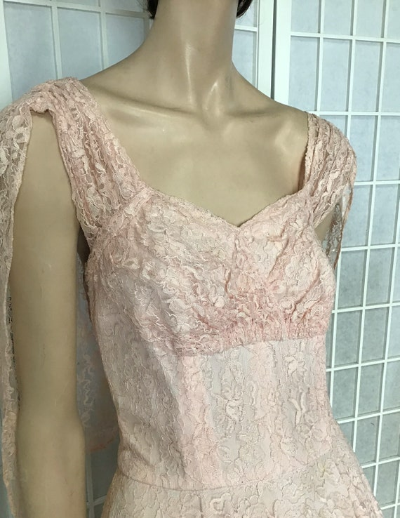 Beautiful 1950s Pink Lace Party Dress, Cocktail D… - image 4