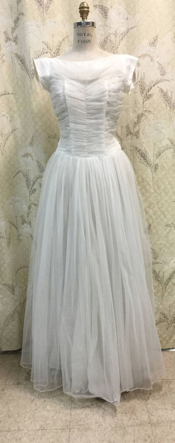 Gorgeous 1950s White Nylon Ball Gown