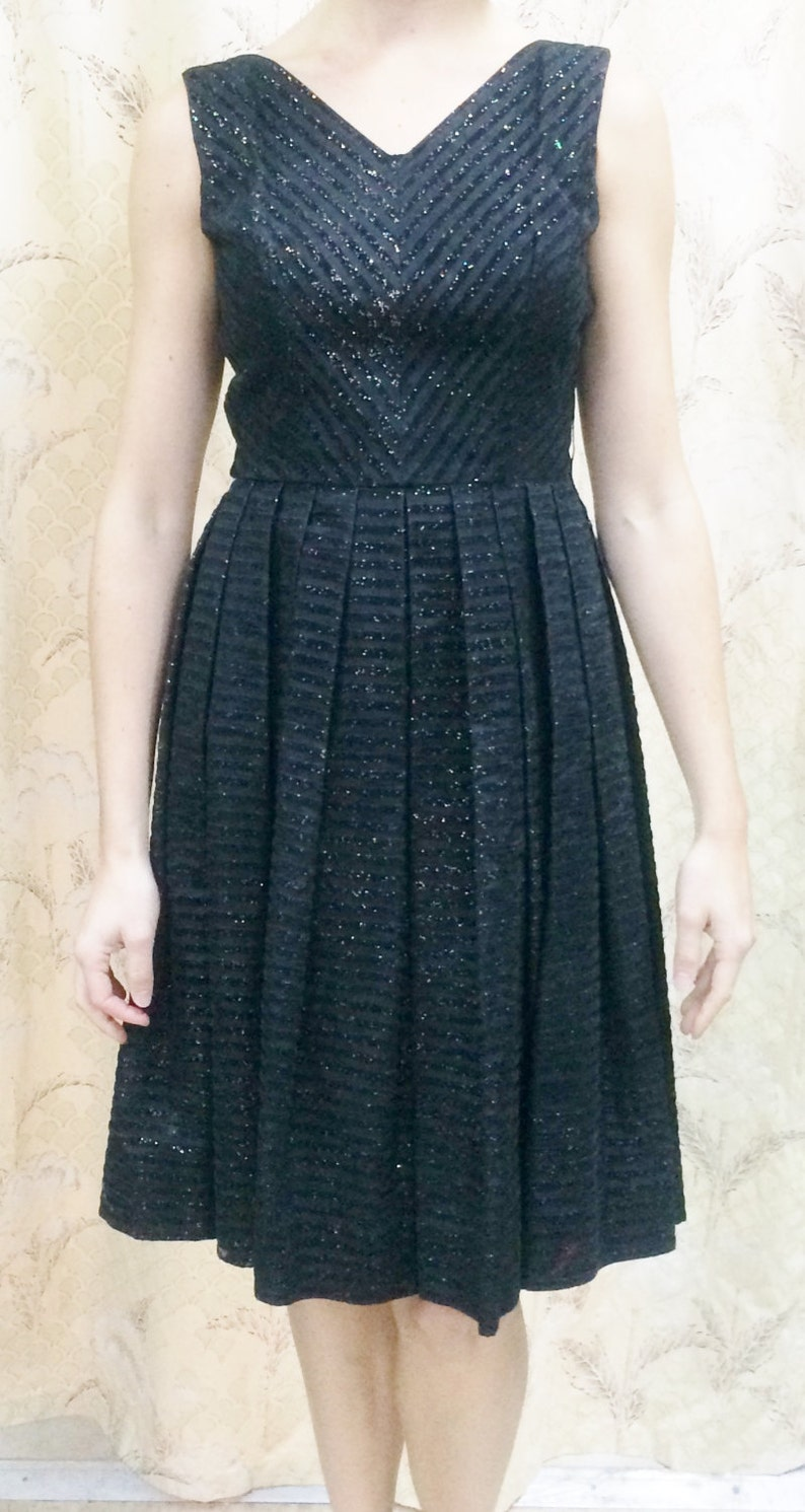 dc6e2f9e907 Vintage 1950s Black Party Dress with Pleated Skirt 1950s