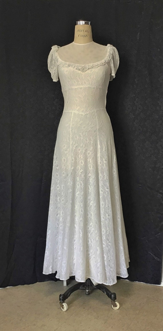 1940s White Lace Gown, 1940s Wedding Gown