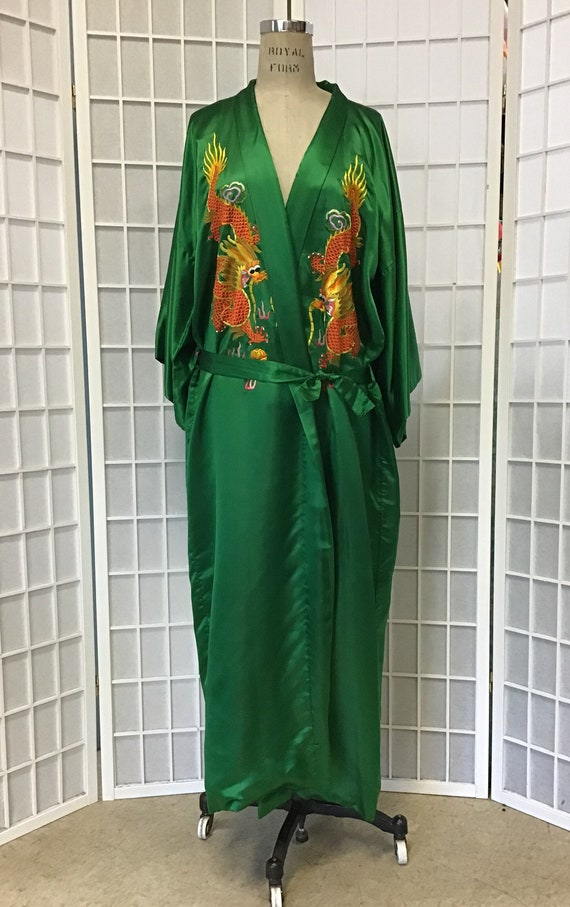 Green Chinese Embroidered Dragon Robe, Unisex Asia