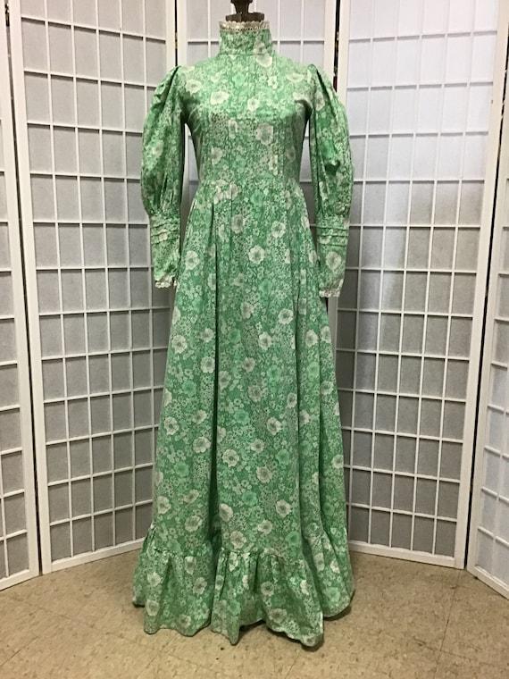 1970s Laura Ashley Green and White Prairie Dress,