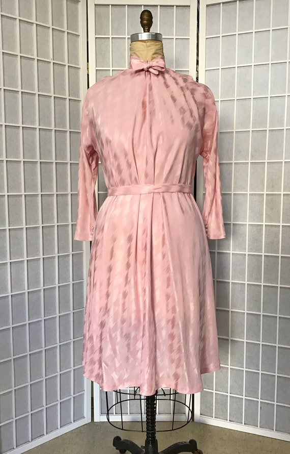 1980s Pauline Trigere Pink Silk Dress