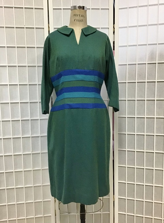 1950s Blue and Green Wool Dress