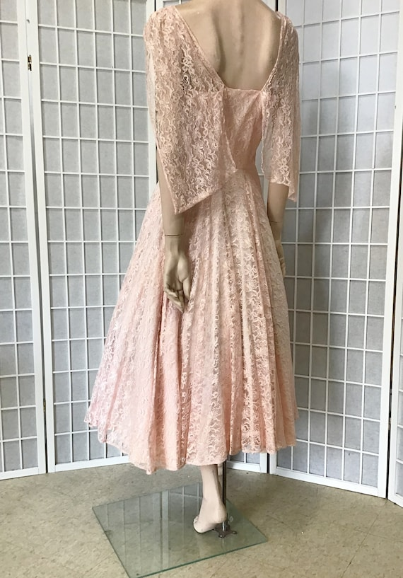 Beautiful 1950s Pink Lace Party Dress, Cocktail D… - image 5