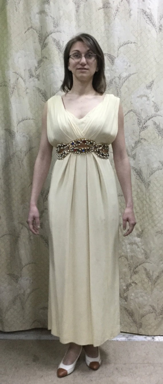 1970s Beaded Grecian Emma Domb Gown