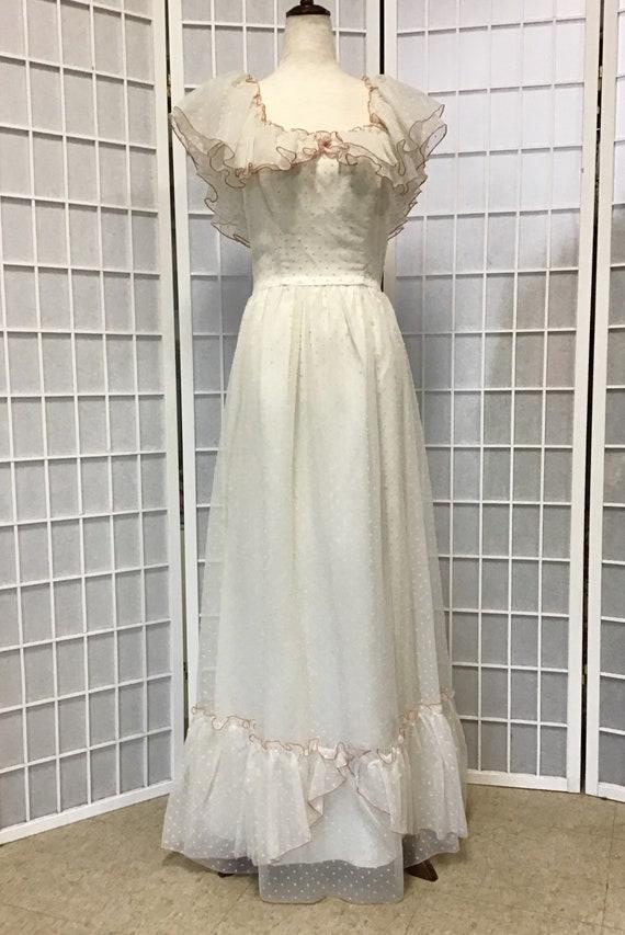 1970s White Swiss Dot Gown, Prairie Dress