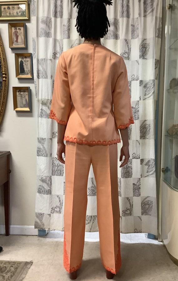 1970s Orange Embroidered Linen Suit - image 5