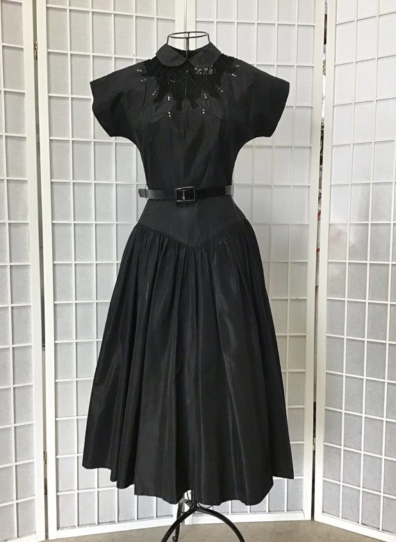 Late 40s/Early 50s Vicky Vaughn Little Black Dress
