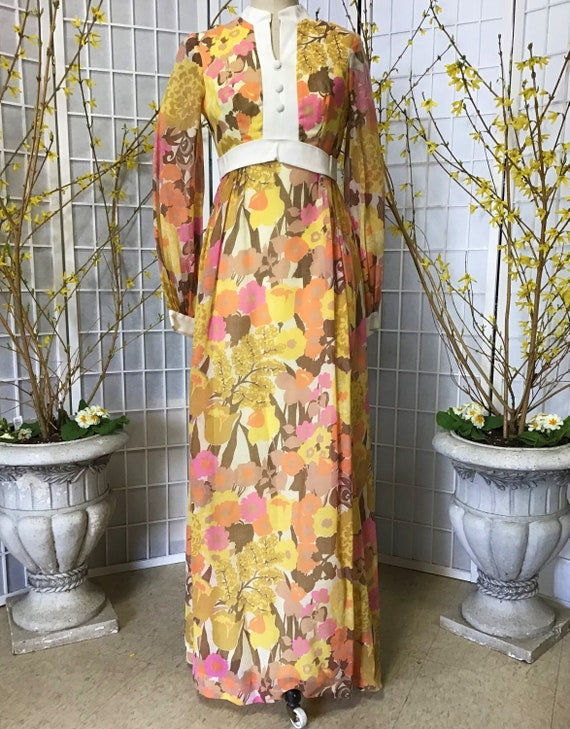1960s Cotton Floral Maxi Dress