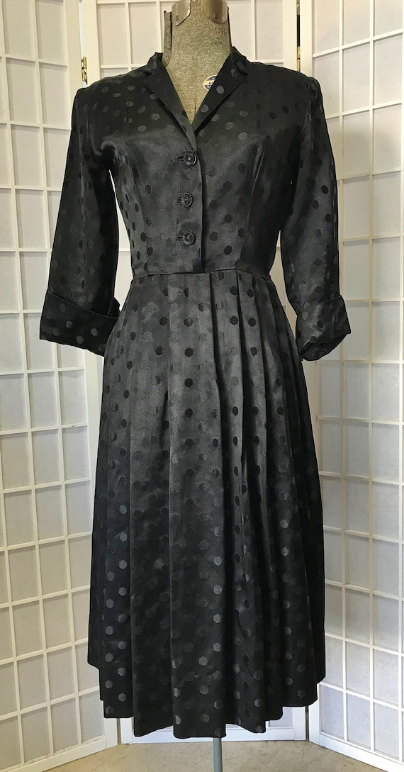 1940s Ceil Chapman Dotted Satin Dress